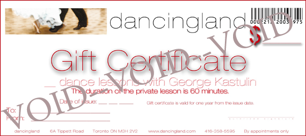 Dance Gift Certificates